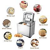 MeyKey Brotbackautomat 19 Backprogramme Brotbackmaschine Edelstahl Vollautomatisch 15 Stunden Zeit-Funktion mit Sichtfenster und LED Bildschirm 710W