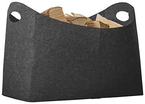 Rubberneck Kaminholztasche XL aus Filz für Holz, Zeitungen, Kaminholz - Filztasche Maße 54 x 30 x 39 cm (Anthrazit)