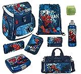 Familando Spiderman Schulranzen-Set 9-teilig mit Federmappe, Sporttasche und Regenschutz