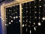 BLOOMWIN Lichtervorhang Schneeflocken 2*1M Warmweiß 8 Modi, 104 LED 220V Snowflake Curtain Light Eiskristall Weihnachtsbeleuchtung für Innenwand, Hochzeit, Party, Weihnachten