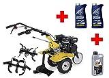 Benzin Gartenfräse / Kultivator 6 PS mit Pflug + 1 l Motoröl + 2 l Getriebeöl