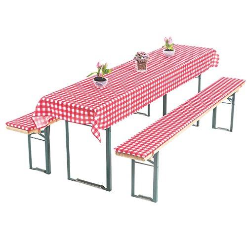 Gräfenstayn Annabelle Biertischauflagen-Set mit Sitzpolsterung 3 tlg für Bierzeltgarnitur – 70cm oder 50cm Tischbreite - Öko-Tex Siegel Standard 100: 'Geprüftes Vertrauen' (70x220cm, Rot/Weiß)