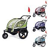 SAMAX Fahrradanhänger Jogger 2in1 360° drehbar Kinderanhänger Kinderfahrradanhänger Transportwagen vollgefederte Hinterachse für 2 Kinder in Blau - Silver Frame