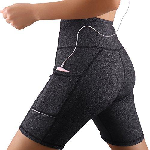 GRAT.UNIC Damen Fitness Damen Shorts, Kurze Yogahose, Schnell trocknende Trainieren Sporthose mit Taschen, Hohe Taille Sport Leggings (Grau, XL)