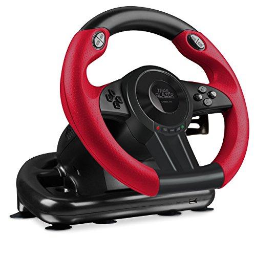 Speedlink Gaming Lenkrad für PS4, PS3, Xbox One, PC - Trailblazer Racing Wheel (Schaltknauf, Gas- und Bremse-Pedale - Vibration - Controller für Driving Games oder andere Simulator-Spiele) schwarz-rot