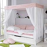 Kinder Himmelbett mit Ausziehbett Weiß Rosa Pharao24