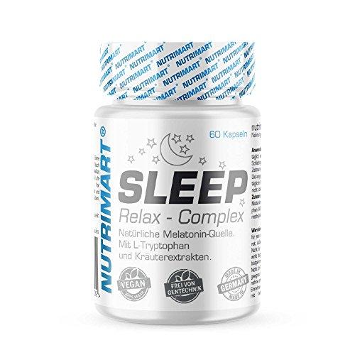 Sleep & Relax Complex - 60 vegane Kapseln - Natürliche Melatonin-Quelle - Mit L-Tryptophan und Kräuterextrakten - Ohne Magnesiumstearat - natürliches Schlafmittel, Stimmungsaufheller zur Entspannung