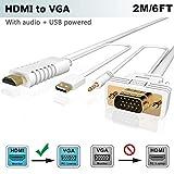 HDMI auf VGA Kabel mit Audio 2M, FOINNEX HDMI zu VGA Adapter Konverter zum Anschluss von PC, Laptop, Xbox 360 One, PS4/PS3,Blu-ray Player,TV-Box zu TV, Monitor, Projektor,1080P