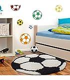 Kinderteppich für Kinderzimmer Fussball Form Hochflor Teppich Schwarz-Weiss - 100x100 cm Rund