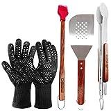 Grillfaktur hochwertiges Grillbesteck Set 4-teilig - Lange Edelstahl Grillzange (45 cm) + Grillwender (38 cm) + Grillpinsel (42 cm) + Grill-/Ofenhandschuhe (1 Paar) - Geschenk Set für Männer.