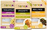 norojo  geruchlose  Shirataki Nudeln Probierpaket - Spaghetti, Tagliatelle & Reis Art, 1er Pack (3 x 250gr)
