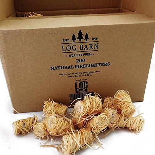 Holzwolle, natürliche Holzfeuer-Anzünder, umweltfreundlich, 200 Stück pro Packung,  ideal zum Anzünden von Feuern in Öfen, Barbecue-Grills, Pizzaöfen und Räuchergeräte