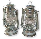 2 Stück Petroleumlampen im Set, 23 cm hoch, Silber, ideales Camping-Zubehör als Campingleuchte oder als Gartenfackel