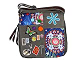Umhängetasche Canvas Style mit aufgenähten Patches, Buttons und floralem Muster - Maße 28 x 29 cm - Damen Mädchen Teenager Tasche (grau)