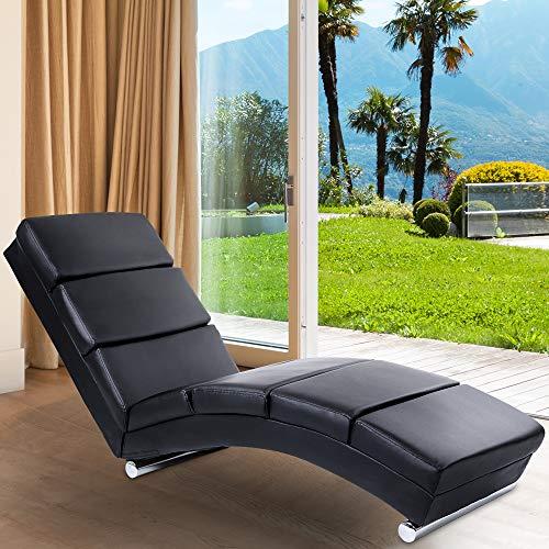 MIADOMODO Relaxliege | ergonomisch, gepolstert, 154x51x73cm, Kunstleder, Schwarz | Liegestuhl, Relaxsessel, Chaiselongue, Loungesessel, Sesselliege, Sofaliege, Polsterliege