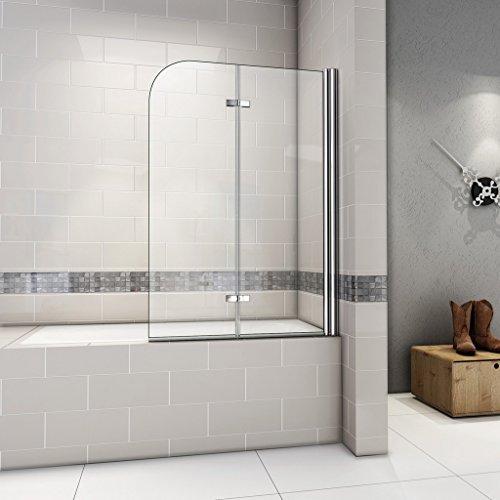 120x140cm Duschabtrennung Badewannenaufsatz Badewannenfaltwand 6mm Duschwand Badewanne mit Nanobeschichtung AS2E-12H-6