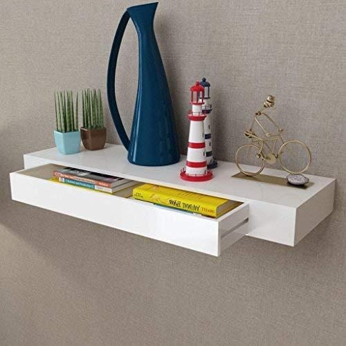 Vislone Wandregal Schweberegale mit 1 Schublade Wandboard Kreatives Lounge Cube Regal Hängeregal Badezimmerschrank 80 x 25 x 8 cm(