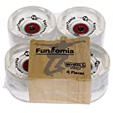 FunTomia 4 Stück (LED) Longboard/Skateboard Rollen (Big Wheels) in 70x51mm 80A inkl. Mach1 Kugellager und Metall Spacer 80A Rollenhärte