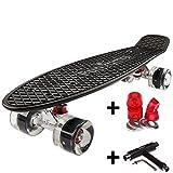 FunTomia Mini-Board 57cm Skateboard mit oder ohne LED Leuchtrollen inkl. Aluminium Truck und Mach1 ABEC-11 Kugellager in verschiedenen Farben zur Auswahl T-Tool (Deck in schwarz2 / Rollen in schwarz mit LED + T-Tool + weichen Lenkgummis)