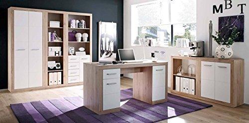 Komplettes Arbeitszimmer in San Remo Eiche / Weiß - Büromöbel Komplett Set Modell 2016