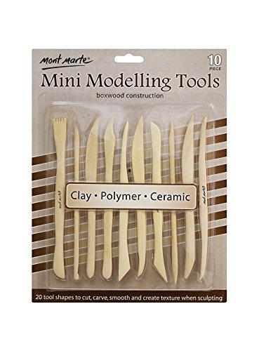 Mont Marte Modellier-Werkzeug aus Holz - 10 Doppelseitige Sculpting Werkzeuge in verschiedenen Formen - Ideal für das Bearbeiten von Ton - Perfekt geeignet für Anfänger, Profis und Künstler
