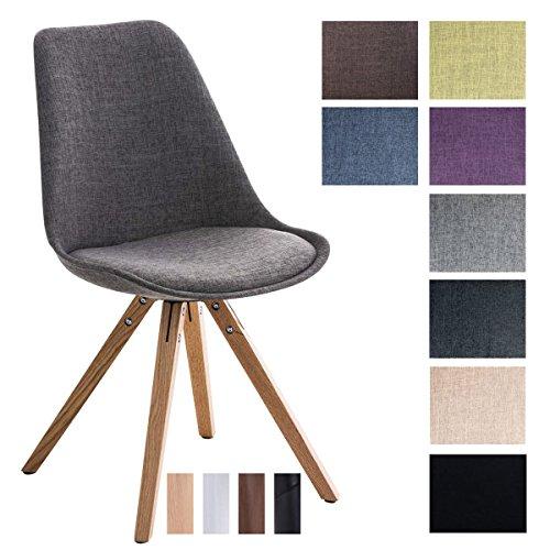 CLP Design Retro-Stuhl PEGLEG SQUARE mit Stoffbezug | Gepolsterter Schalenstuhl mit Holzbeinen und einer Sitzhöhe 46 cm Hellgrau, Holzgestell Farbe natura, Bein-Form eckig