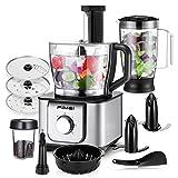 FIMEI Küchenmaschine multifunktional, 1100W, 3 Geschwindigkeiten, 11 in 1, Elektrischer Zerkleinerer, Standmixer, Zitrusspresse, Kaffeemühle, 3.2L Rührschüssel, 1.5L Mixbecher