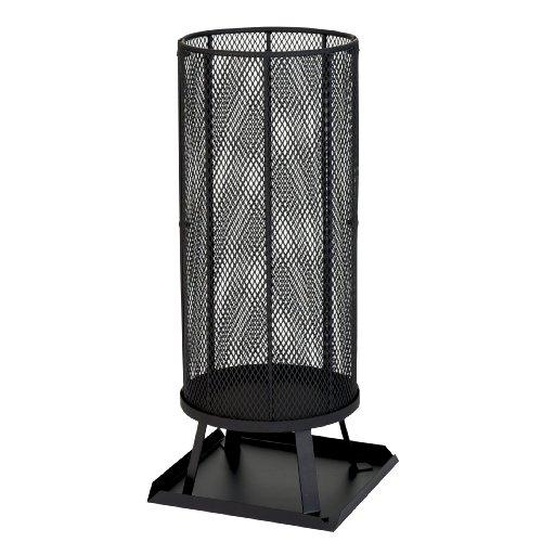 Kamino-Flam Feuerkorb Leda - Feuerstelle mit Funkenschutz - Terrassenfeuer schwarz für den Garten - Schwedenfeuerkorb mit Untersetzer - Outdoor-Feuerstelle