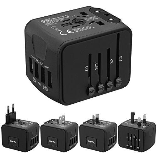 Reiseadapter HUANUO Reisestecker Steckdose Adapter Stromadapter mit 4 USB Aufladung Reise Stecker universal einsetzbar für 150 Ländern z.B. Europa USA Australian UK usw,