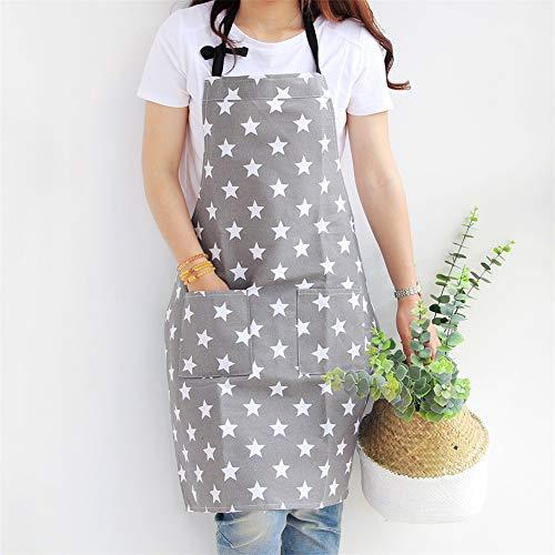 Lindong Sterne Schürze mit Tasche Baumwolle Leinen Damen Küchenschürze Latzschürze Kochschürze zum Kochen oder Backen grau