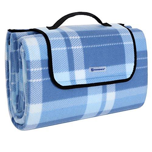 SONGMICS 200 x 200 cm XXL Picknickdecke Fleece wärmeisoliert wasserdicht mit Tragegriff GCM71B