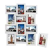 SONGMICS Bilderrahmen Collage für 12 Fotos je 10 x 15 cm (4 x 6') + 1 x einzelner Fotorahmen aus MDF-Platten weiß RPF112W