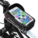 Rahmentasche Fahrrad, LiDiwee Fahrrad Tasche Handy 6', Lenkertasche Fahrrad Wasserdicht, Handyhalterung Fahrrad Handytasche für iPhone 8 / 7 / 6s plus iPhone X Samsung, 900D, 1.28L (Schwarz und Grau)