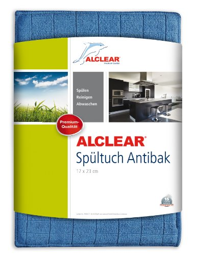 ALCLEAR 950017 antibakterielles Ultra-Microfaser Spültuch Antibak mit Silber, Farbe:Blau, 17 X 23cm