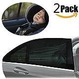 Sonnenschutz Auto Baby (2 Stück), PEMOTech [flexibel] [dehnbaresNetz] Auto-Hinterseitenfenster Sonnenblenden für Baby, Ihre Baby und ältere Kinder werdenvorSonnengeschützt, geeignetfür Autos und SUVs