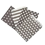 Frau WUNDERVoll Candy Bags, 100 Papiertueten 13 x 16,5 cm, Design Mix aus 4 Designs zu je 25 Stueck