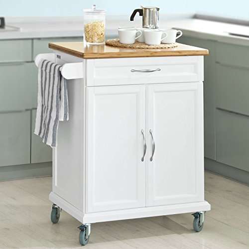 SoBuy Luxus-Küchenwagen mit Bambustischplatte, Küchenschrank, Kücheninsel, weiß, FKW13-WN