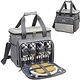 HappyPicnic gefüllter Picknick-Kühler/Korb für 4 Personen mit komplettem Geschirr-Set, Premium Picknick-Set mit hartem Eva-Form-Deckel als Picknicktisch Brushed Grey for 4P MEHRWEG