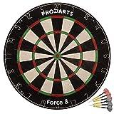ProDarts Dartscheibe Force 8 - Aus hochwertigen A-Klasse Sisal Bristles - Extra dünne Drahtränder - 451 x 38 mm - Gratis-Geschenk: Darts + Regelheft + Montagesatz