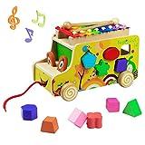 Bus Ziehen und Holz Tiere Blöcke Spielzeug mit Xylophone Stecktiere Nachziehspielzeug Form Sortierung Spielzeug für Kinder Jungen und Mädchen