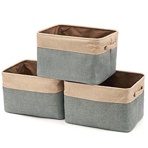 EZOWare faltbare Aufbewahrungsbox aus Leinen Aufbewahrungskorb mit Griffen – 3er Set Braun/ Grau