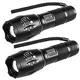 GVOO LED Taschenlampe 2000 Extrem Hell XML-T6,2 pack Superheller Hochleistungs, Wasserfest, 5 Leuchtmodi Tragbare Taschenlampe fürs Freie mit Einstellbarem Fokus und Indoor