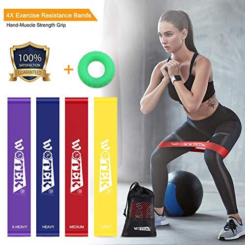 WOTEK Fitnessbänder Set 4-Stärken Trainingsband Übungsband Fitnessband Gymnastikband Widerstandsbänder aus Naturlatex für Muskelaufbau, Physiotherapie, Pilates, Yoga, Gymnastik, Crossfit, MEHRWEG