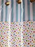 Homescapes Vorhang Kinderzimmer Ösenvorhang Kindervorhang Stars Multi 2er Set bunt 117 x 137 cm (Breite x Länge je Vorhang) 100% reine Baumwolle