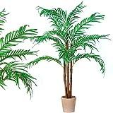 Kunstpflanze 'Kokospalme' mit Echtholzstamm Kunstpalme 160cm groß Kunstbaum