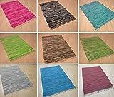 Handwebteppich Fleckerlteppich gestreift 100% Baumwolle Handweb Teppich Fleckerl Waschbar NEU (Magenta gestreift, ca. 50x100 cm)