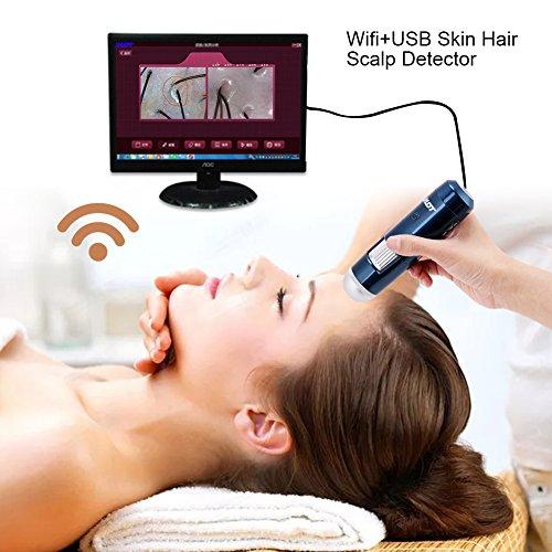 USB der Haut 5-200x Wireless WLAN + Rauchmelder haupthaares des Digital Mikroskop mit Leder der Kamera des Analysegerät 200MP (EU) EU