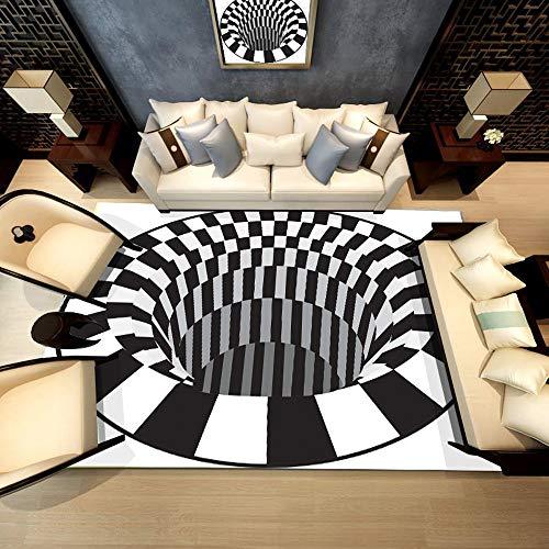Bescita Moderner Teppich Fliesen Hauptströmung Schwarz Weiß Ziegel Teppich Rutschfest Für Kinderzimmer, Boden, Wohnzimmer, Bad, Flur, Tür Matte (B) (80x160cm)