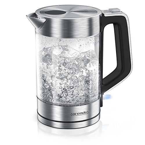 Arendo - Glas Wasserkocher Edelstahl | 1,7 Liter | 2200W | Cool-Touch-Griff | One Touch-Verschluss | Automatische Abschaltung | Integrierte Kabelführung | Überhitzungsschutz