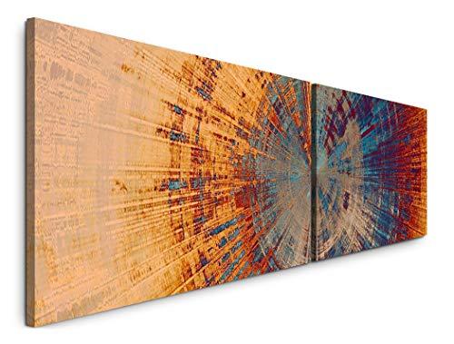 Paul Sinus Art Abstraktes Wandbild 180x50cm - 2 Wandbilder je 50x90cm - Kunstdrucke - Wandbild - Leinwandbilder fertig auf Rahmen